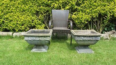 Pair of Large Vintage Stone Concrete Pedestal Square Planters