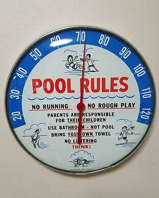 1967 POOL RULES MOTEL SWIMMING advertising thermometer sign soda gas station