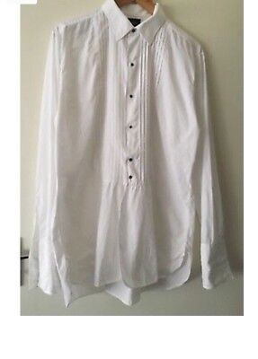Vintage 1960's - 1970's Formal Evening Tuxedo Pleated Front Men's Shirt Size 41c
