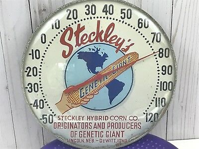 Vintage Steckley's Genetic Corn Thermometer 12'' Glass And Metal Sign Mem