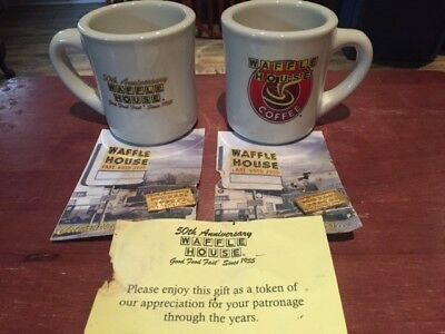 WAFFLE HOUSE 50 th ANNIVERSARY MUGS and PIN SET (2 each)