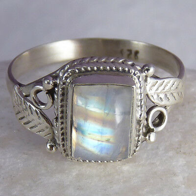Filigree Feature Size US 7.5 SilverSari Gem Ring Solid 925 Stg Silver MOONSTONE