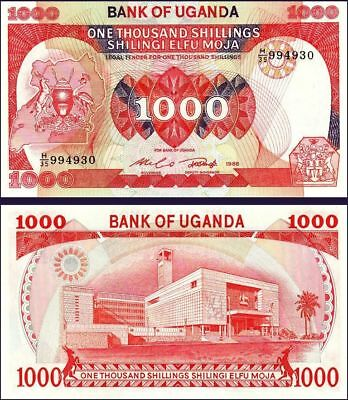 UGANDA 1000 SHILLINGS 1986 UNC But AU+ / UNC 5 PCS LOT P-26