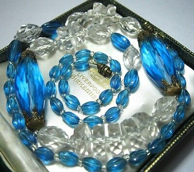 VINTAGE Antique ART DECO 1930's Beautiful Large Crystal Blue BEAD LONG NECKLACE