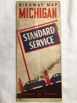 Vintage early 1940 Standard Oil gas station Michigan Highway Road Map Petroliana