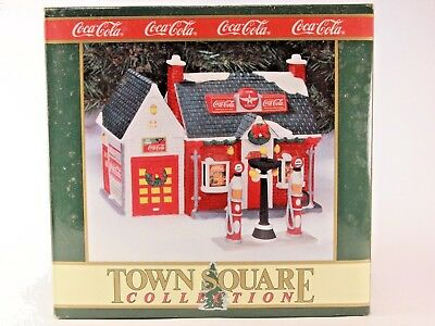 "Vintage 1994 Coca Cola ""Flying A Service Station"" Town Square Collection & Light"