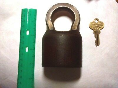 Antique WORKING Brass Segal HEAVY DUTY Padlock WITH KEY !! Weighs 1 1/2 POUNDS!!