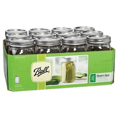 Ball 32 Oz Glass Mason Jars Wide Mouth Quart With Lids And Bands 12 count