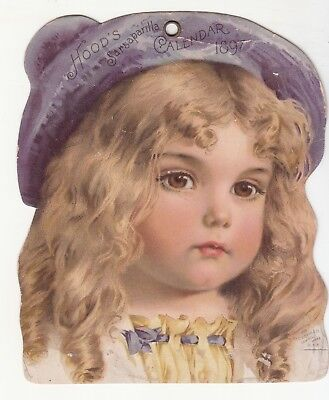 Hood's Sarsaparilla Calendar Cover  Blond Girl Purple Hat 1897 Vict Card