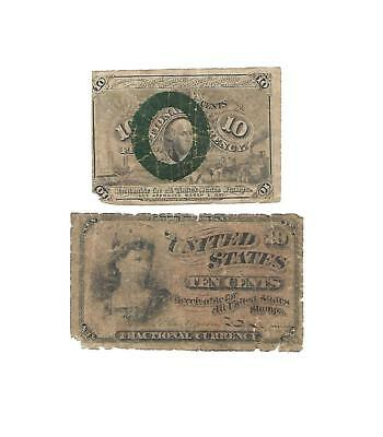 2  U.S. Fractional notes 10 CENTS & 10 CENTS  1860s  Good+ to aFine