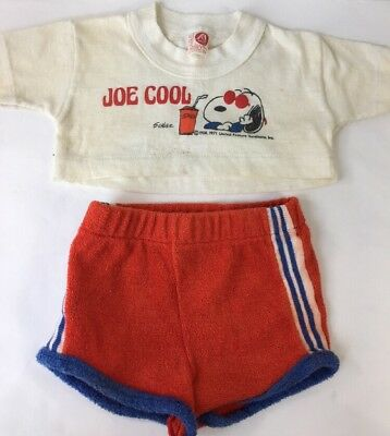 Vtg 70s Joe Cool Snoopy Half T-Shirt Crop Top Terry Cloth Shorts Boy 2T 3T Artex