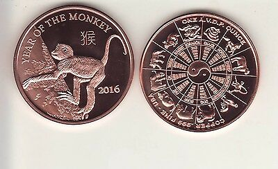 2016   YEAR OF THE MONKEY   1 oz. Copper Round Coin