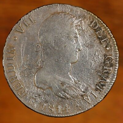 Raw 1814 Bolivia 8R Circulated Bolivian Silver 8 Reales Coin