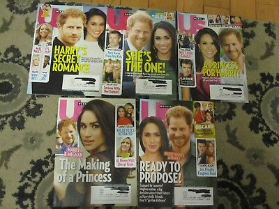 US Magazine lot, 5 back issues on Prince Harry & Meghan Markle, 2016 & 2017