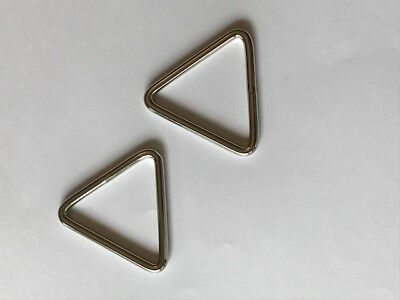 "Set / 2 Triangle Rings Tri-Ring 1-1/2"" x 1-1/2"" x 1-1/2"" Nickel Plated Boat Bag"