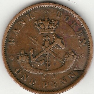 1852 Bank of Upper Canada Large One Penny Bank Token