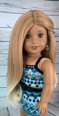 10-11 Custom Doll Wig fit Blythe-American Girl-1/4 Size PALOMINO SWIRL bn1