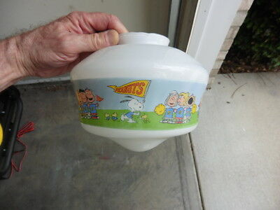 Vintage Peanuts & Snoopy Cartoon Characters Ceiling Globe Glass Light Fixture @@