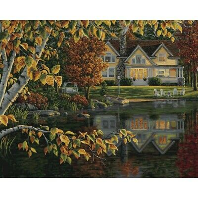 PLAID Paint by Number Kit FALL RIVER TRAIN 20 x 16 inches No Blending Mixing