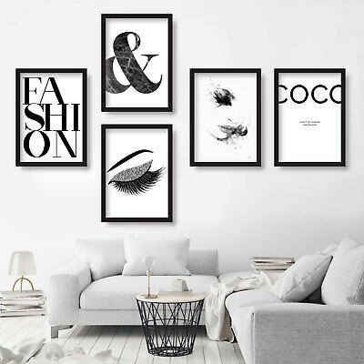 5 x Original FASHION wall PRINT picture COCO Chanel quote watercolour Sketches