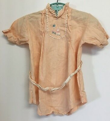 Vintage Toddler Girls Pink One Piece Romper Outfit w/ Dog Embroidery