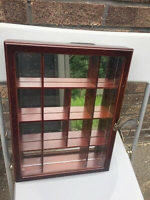 Collectables Wall Mounted Display Cabinet Glass Doors Shelves Narrow Show Case