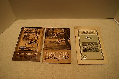 Vintage Lot Of 3 Agriculture Booklets, Goats, Cows, 1930s