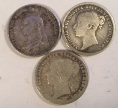 3 Queen Victoria Sixpence Nice Coins 1892 1872 1878 Uk Great Britain Silver Coin