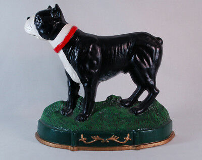 """Large Cast Iron Boston Terrier Dog One Sided Doorstop - 12"""" tall 14"""" Long"""