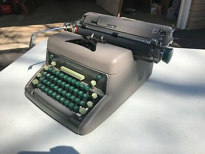 VTG 1950' LC Smith-Corona Secretarial Typewriter LARGE Office Manual green keys