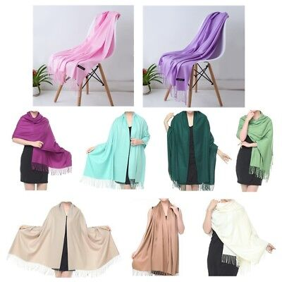 Women Soft Pashmina Silk Classic Solid Cashmere Wool Shawl Scarf Stole Wrap