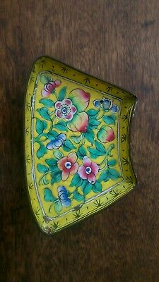 Antique Qing dynasty enamelled copper footed dish bowl cloisonne rare yellow