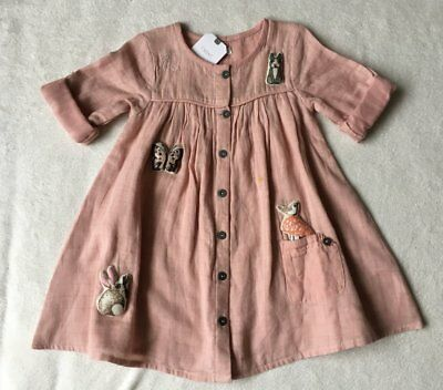 ***BNWT Next baby girls Character 3D Applique pink cotton dress 1,5-2 years***