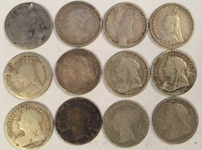 12 Uk Threepence 1862-1900 Sterling Silver Coins Queen Victoria Great Britain