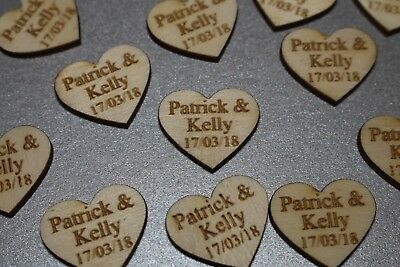 Wooden Love Heart Table Decorations Personalised Wedding Favours Confetti