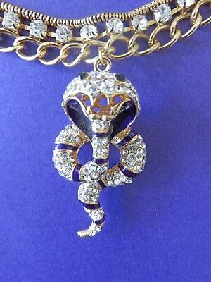 Sparkling Royal Egyptian Revival GP Rhinestone Rearing Cobra Pendant Necklace