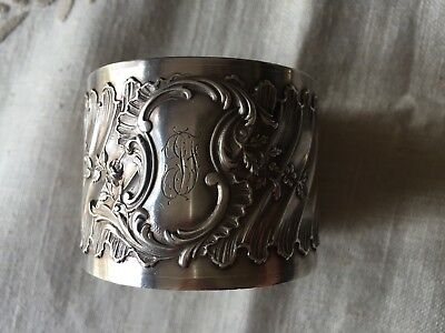 ANTIQUE 1890s FRENCH STERLING/SOLID SILVER MINERVA 950/1000 NAPKIN RING Rococo
