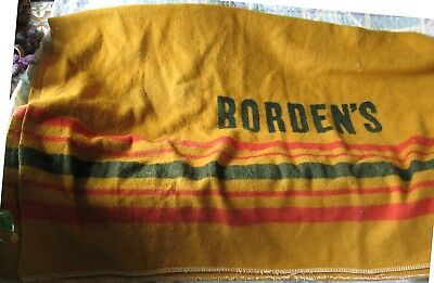 Big, Heavy Antique Wool Blanket - Says Borden's. Rough Shape but Warmest Blanket