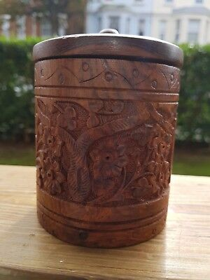 Carved Wooden Jar/Desk Ornament/Collectible
