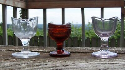 Vintage Lot of 3 Glass Eye Wash Cups - Clear, Amber and Light Purple