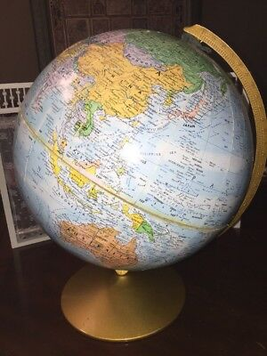 "VINTAGE 12"" REPLOGLE WORLD NATIONS SERIES GLOBE METAL BASE USA Raised Relief"