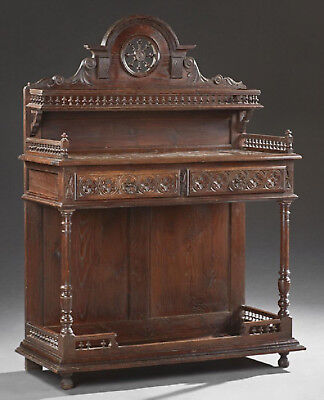 French Carved Breton Marble Top Server, early 1900s