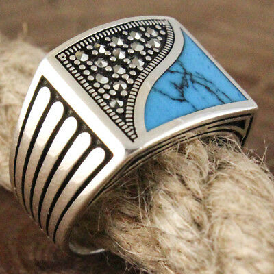 SPECIAL Turkish Handmade 925 Sterling Silver Turquoise Stone Luxury Ring 9.25 US