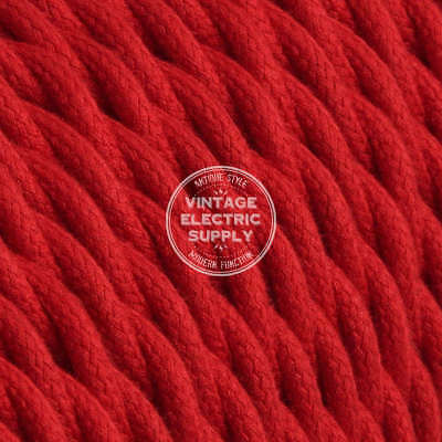 Red Cotton Twisted Cloth Covered Electrical Wire - Braided Fabric Wire