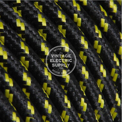 Black wYellow Tracer (UL) Cloth Covered Electrical Wire - Braided Fabric Wire