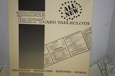 """BRIDGE PARTY Card Tablecloth Evaluations Opening Bids Responses Scoring 44""""X 44"""""""