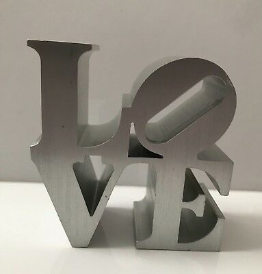 Vtg Robert Indiana LOVE Sculpture Brushed Aluminum Museum Replica Paperweight