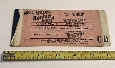 Vintage 60's Knotts Berry Farm Ticket Book With C, D Tickets Only