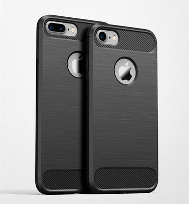 For Apple iPhone 7 Plus Case Black Rugged Armor Shockproof Carbon Fiber Texture