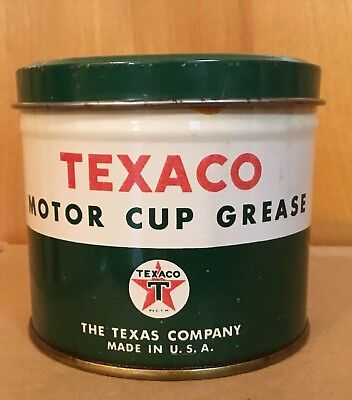 Vintage Texaco Motor Cup Grease 1 Lb Can Oil Gas Station